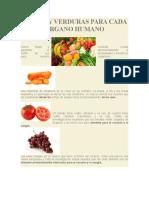 Frutas y Verduras Para Cada Organo Humano