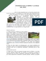 El Espacio Geográfica de La Sierra y La Selva Del Perú