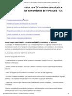 Requisitos para montar una TV o radio comunitaria + directorio de medios comunitarios de Venezuela - %%
