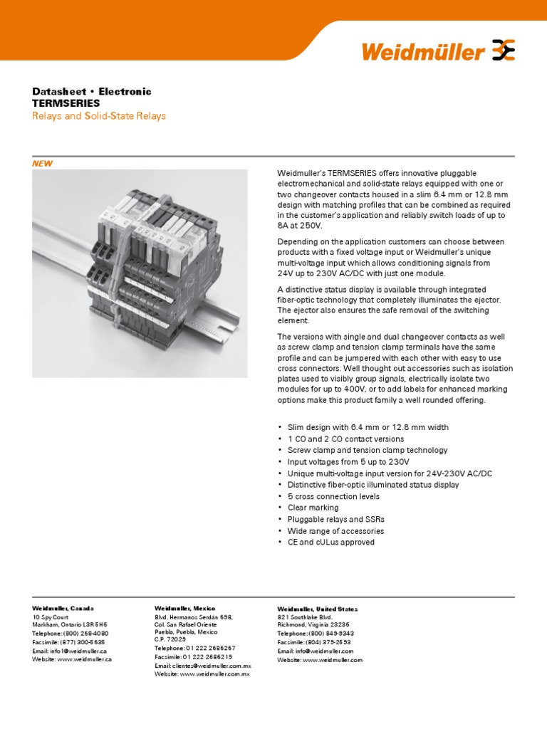 Lit1302e Termseries Datasheet V4 Direct Current Relay Solid State 230vac
