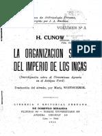 Heinrich Cunow, La Organización Social Del Imperio de Los Incas OCRed