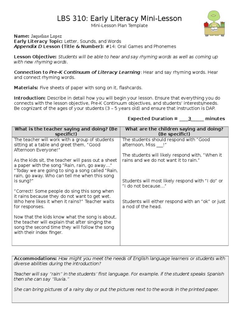 Mini Lesson Template Educational Assessment Psychology - Mini lesson plan template