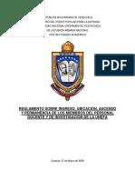 REGLAMENTO DEL PERSONAL DOCENTE DE LA UNEFA == APROBADO 8 MAYO