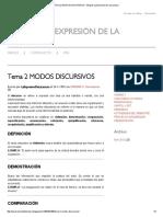Tema 2 MODOS DISCURSIVOS - Blog de La Expresión de La Lectura