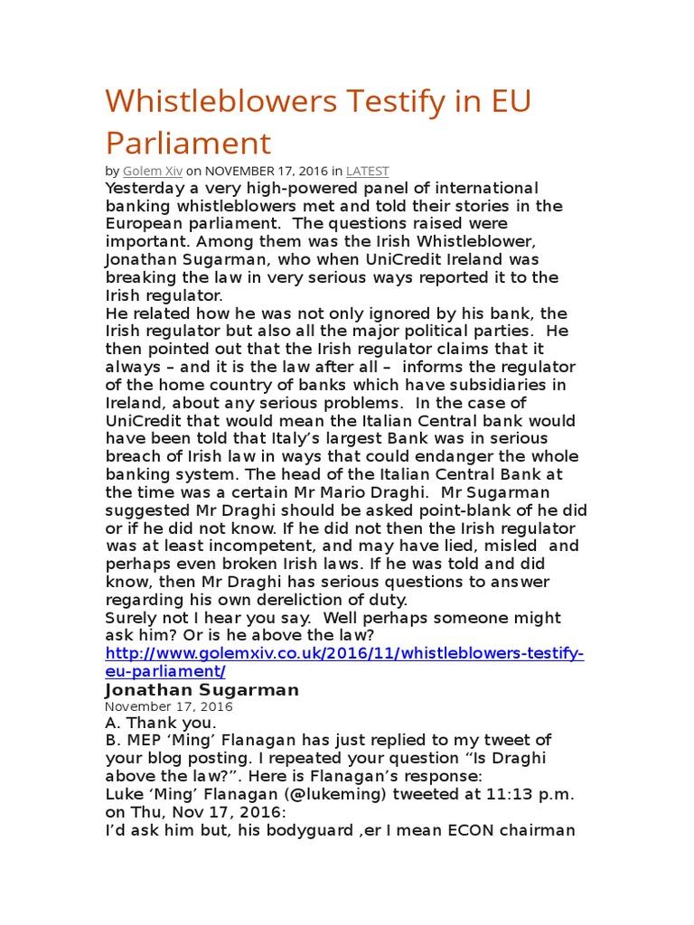 Whistleblowers Testify In Eu Parliament Of Liquidity Irish Breach