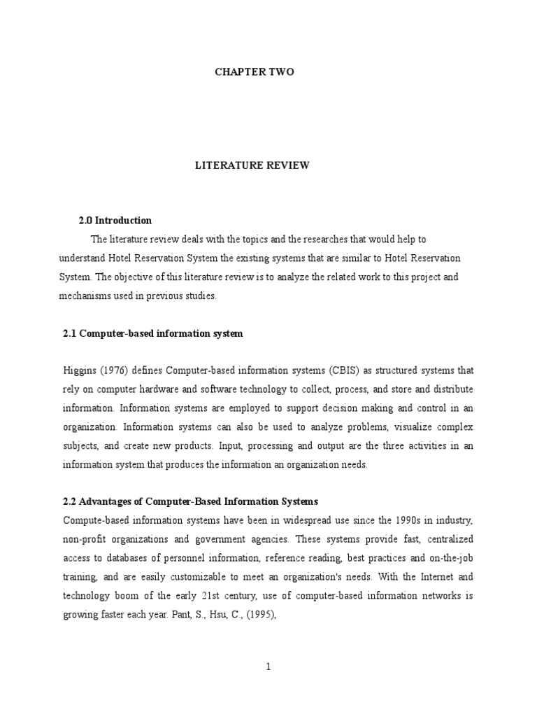 literature study of hotel reservation system