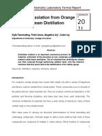 FR 3 - Limonene Isolation From Orange Peels by Steam Distillation
