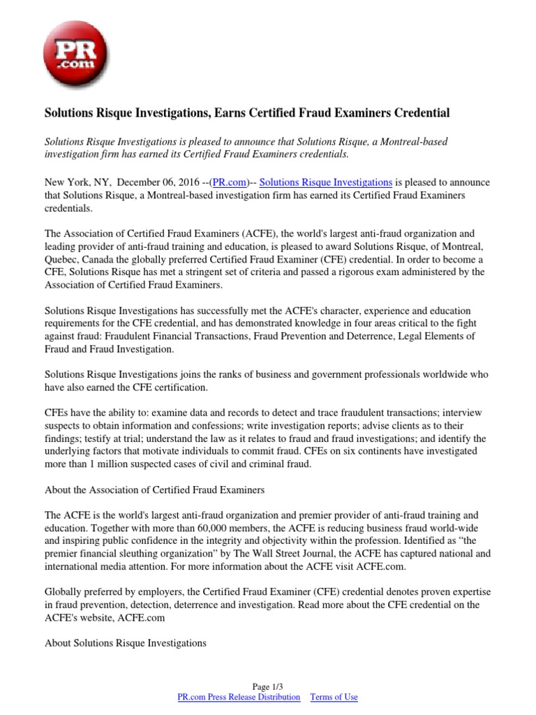 Solutions risque investigations earns certified fraud examiners solutions risque investigations earns certified fraud examiners credential credential fraud 1betcityfo Images