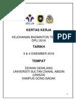 Kertas Kerja Kejohanan Badminton DPLI 2016