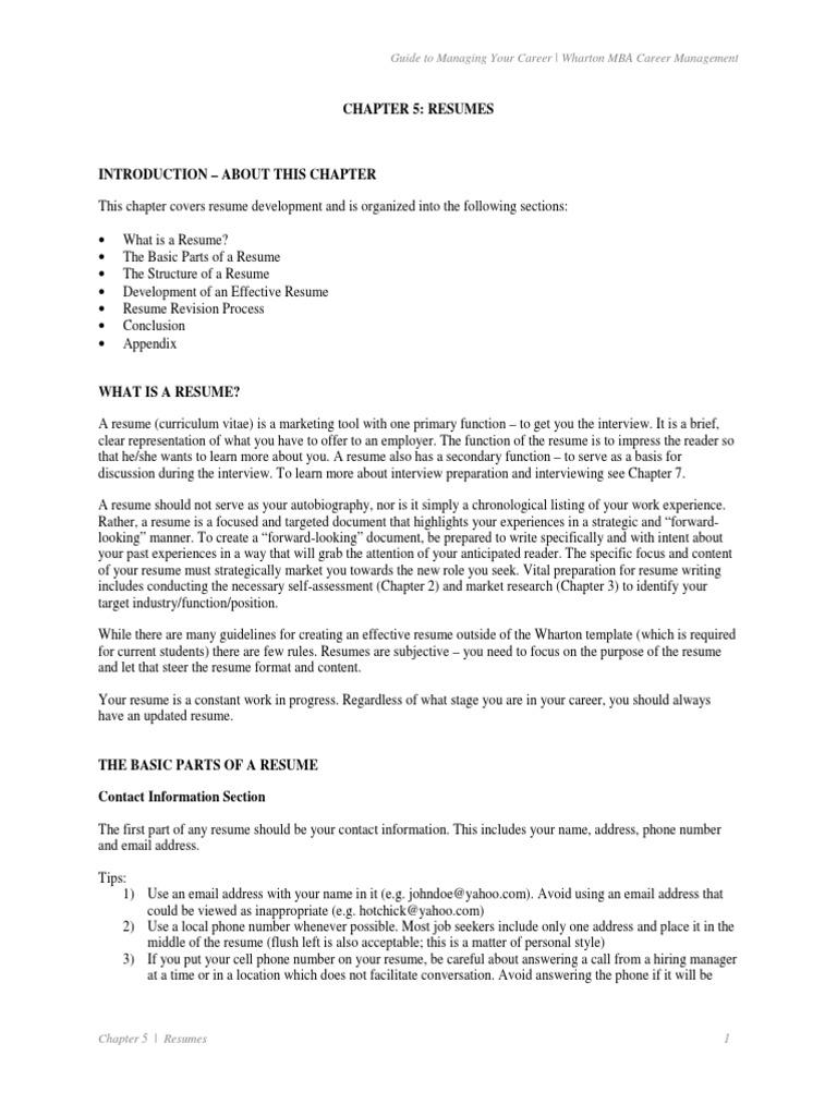 chapter 5 wharton mba career management university of pdf
