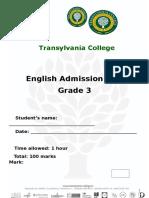 Admission Test Grade 3