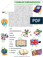 School Subjects Esl Vocabulary Wordsearch Puzzle Worksheet