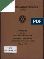 Manual Ametralladora Ligera Vickers Gases Clase L (c. 1930)