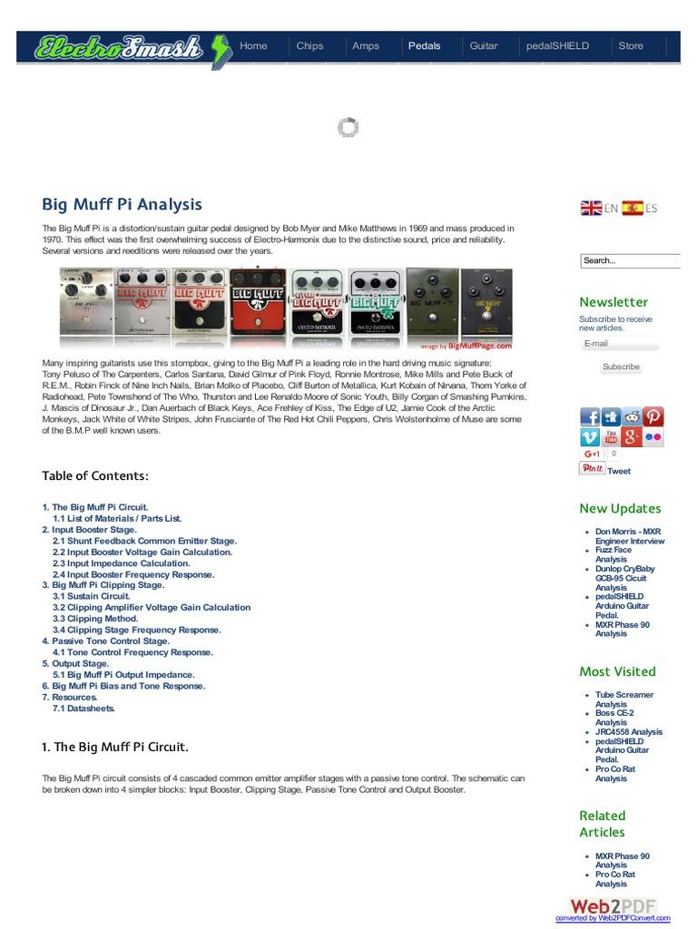 Analisis De Circuito Big Muff Amplifier Telecommunications Jrc4558 Datasheet For Application Engineering