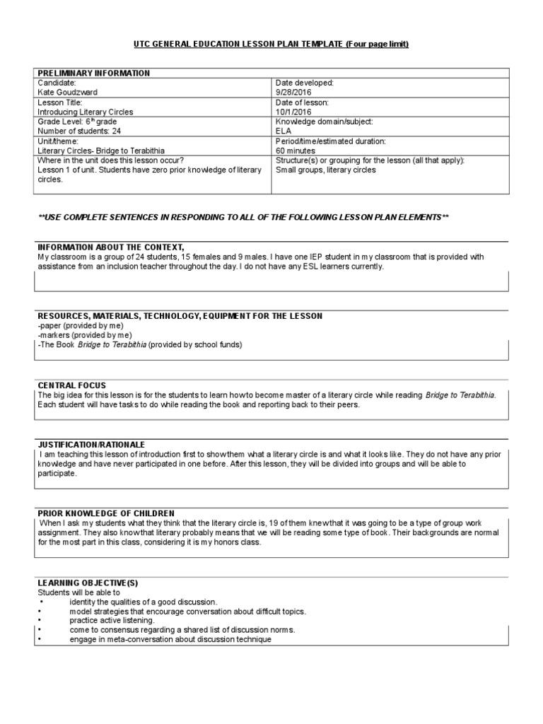 Lesson Plan Educational Assessment Lesson Plan - After school lesson plan template