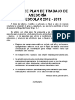 Informe de Plan de Trabajo Por Asesorías
