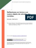 Artundo, Patricia M. (2010). Reflexiones en Torno a Un Nuevo Objeto de Estudio Las Revistas