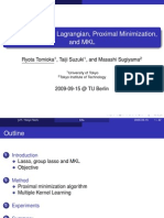 Dual Augmented Lagrangian, Proximal Minimization,  and MKL