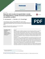 Relaci n Entre Escalas de Espasticidad y Escalas de Independencia y Estado Funcional en Pacientes Con Par Lisis Cerebral 2015 Fisioterapia