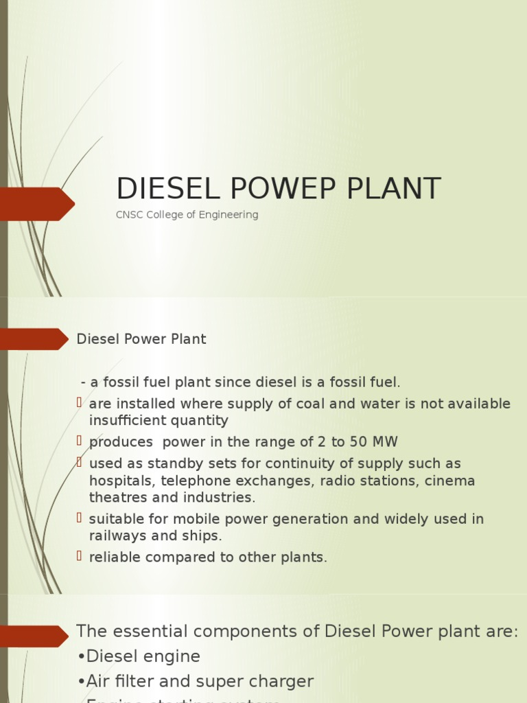 Diesel Powep Plantpptx Internal Combustion Engine Power Plant Diagram