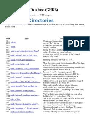 Google Hacking Database docx | Web Server | Apache Http Server