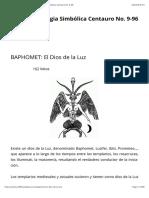 BAPHOMET- El Dios de la Luz | Respetable Logia Simbólica Centauro No. 9-96