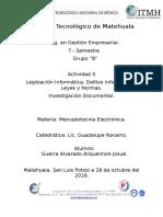 Legislación Informática, Delitos Informáticos, Leyes y Normas.
