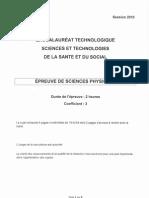 BAC Sciences Physiques Et Chimiques 2010 ST2S
