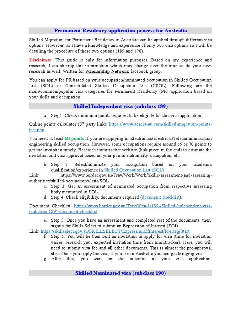 PR Australia (Subclass 189&190) Procedure | International English