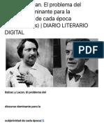 Balzac y Lacan. El problema del discurso dominante para la subjetividad de cada época