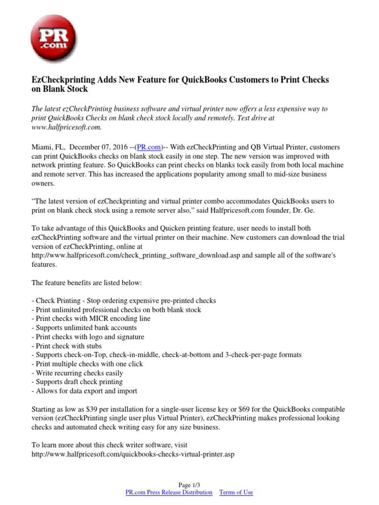 EzCheckprinting Adds New Feature for QuickBooks Customers to