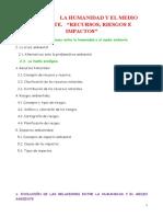 Tema 2 - La Humanidad y El Medio Ambiente Recursos, Riesgos e Impactos