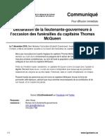 Déclaration de la lieutenante-gouverneure à l'occasion des funérailles du capitaine Thomas McQueen