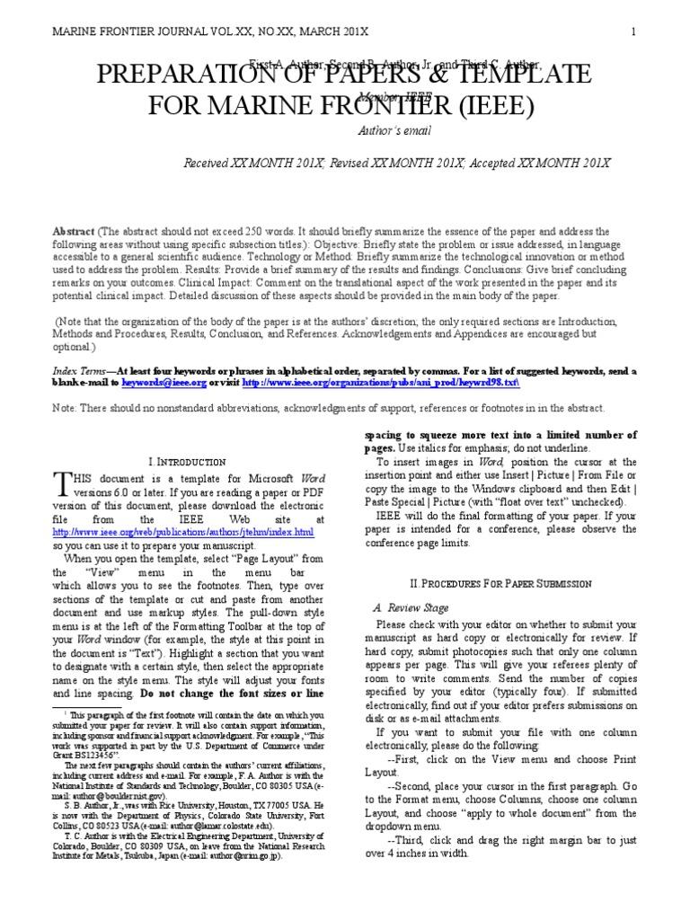 Marine Frontier Ieee Journal Template Citation Magnetic Field