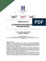 PRIMERA CIRCULAR VI Jornadas Nacionales de Historia Social