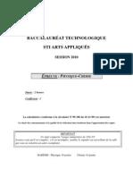 Physique-chimie Bac techno STI Arts appliqués