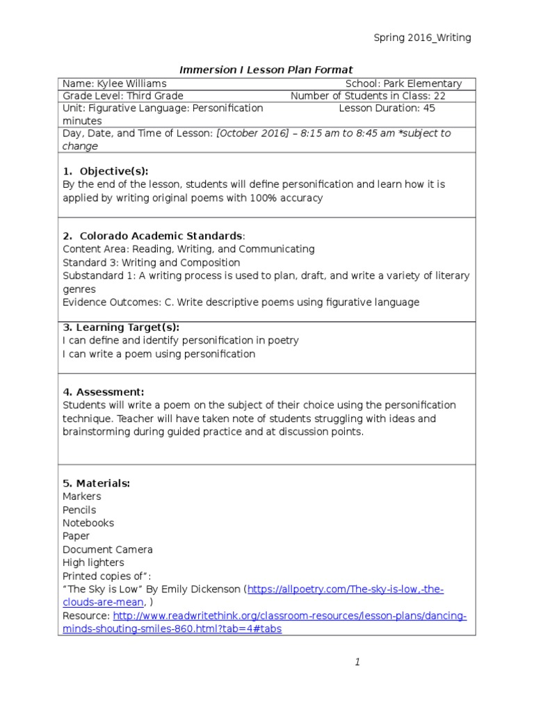 Kylee Williams Personification Lesson Plan Draft 2 Lesson