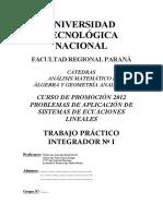 Aplicaciones Sistemas de Ecuaciones