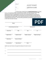 Sleep Wake Questionnaire