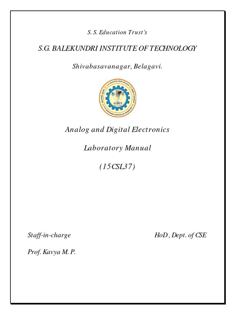 Analog and Digital Electronics (Ade) Lab Manual by Prof. Kavya M.  P.(SGBIT,BELAGAVI) | Amplifier | Operational Amplifier