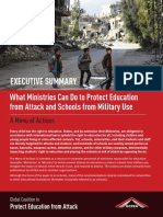 Executive Summary of What Ministries Can Do to Protect Education from Attack and Schools from Military Use