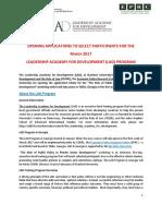 LAD Applicant Selection Announcement Final 2017