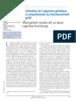 Contribution de l'Approche Génétique à La Compréhension Du Fonctionnement Cognitif