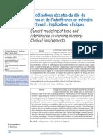 Modélisations Récentes Du Rôle Du Temps Et de l'Interférence en Mémoire de Travail Implications Cliniques