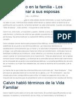 Juan Calvino en La Familia - Los Esposos Amar a Sus Esposas
