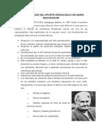 Interpretación Del Aporte Pedagógico de María Montessori
