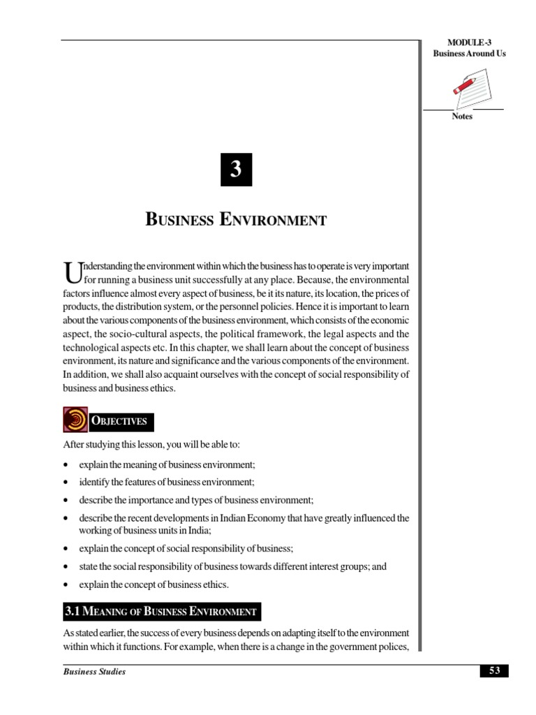 the meaning of business environment