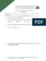9º ano 2º Teste Matemática (A) 08-09-  Inequações e o Conjunto IR, Sistemas de Equações Profº TM