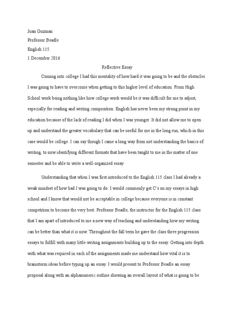 Reflective Essay  Essays  Thesis