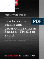 Mba White Paper Psychological Biases and Decision Making in Finance